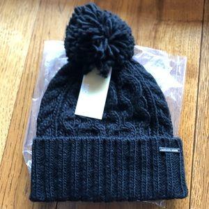 Michael Kors Cable Knit Pom Pom Beanie Hat Black